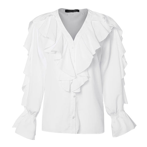 Women Blouse Summer Ruffled Stylish Tops V neck Long Sleeve Shirt