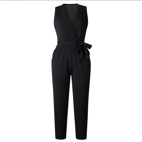 Fashion Lace Women Jumpsuit With Belt Sleeveless