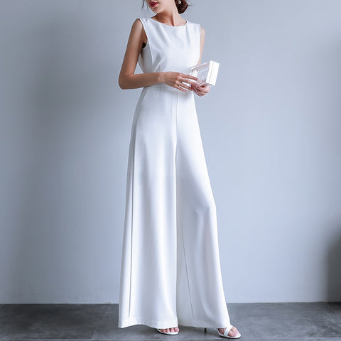Summer Female Size Elegant Loose  jumpsuit  Long Pants Overalls in White Black  jumpsuit