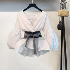 Women  Blouse Shirt    Korean Style Summer Bow V-neck Striped Shirt