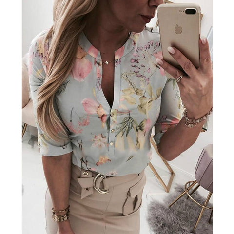 Women Long Half Sleeve Shirts Shirt  Clothes in Casual Button Blouse shirt