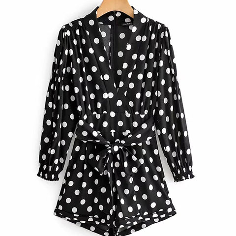 Women Polka Dot Print Fashion  Black Playsuits  With Belt Short Jumpsuit