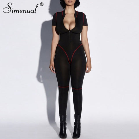 Sporty Active Wear Rompers Womens Jumpsuit Zipper Patchwork