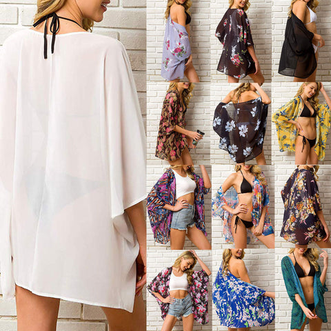 Women Chiffon Sheer Cover Up Swimwear Long Blouse Shirts
