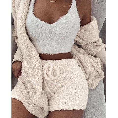 Two Piece Set Short Jumpsuit Winter Female Solid Tracksuit