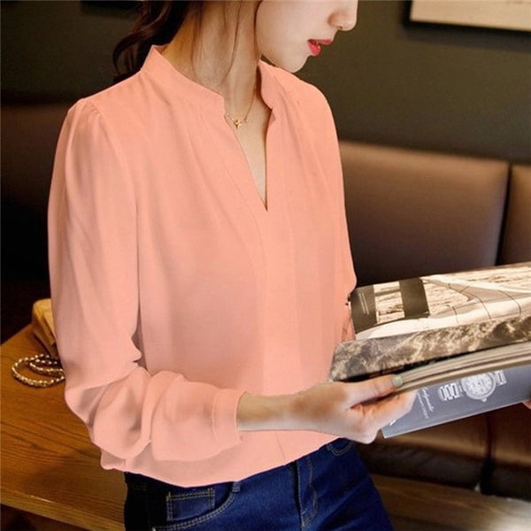 Women V-Neck Tops Long Sleeve Chiffon Blouse