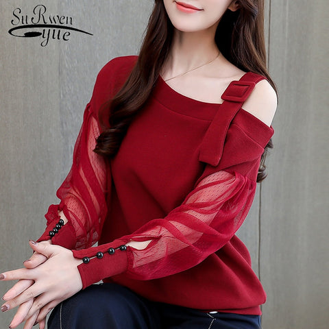 woman blouses  off shoulder top solid women blouse shirt clothing