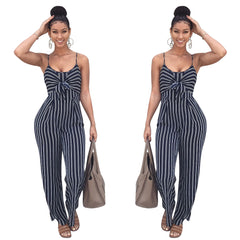 Women Sets Sleeveless Backless Bow Casual Wide Legs Jumpsuits