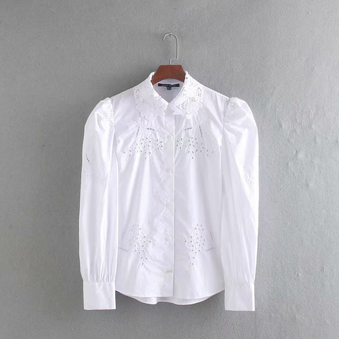 Women  collar casual white smock blouse shirts