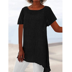 Summer Loose Plus Size Shirt O-Neck Long Sleeve Womens Tops and Blouses