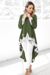 Long Sleeve Shirt Women Autumn Blouse Casual Ruffles Irregular Hem Female Tops Shirts - buydressonline