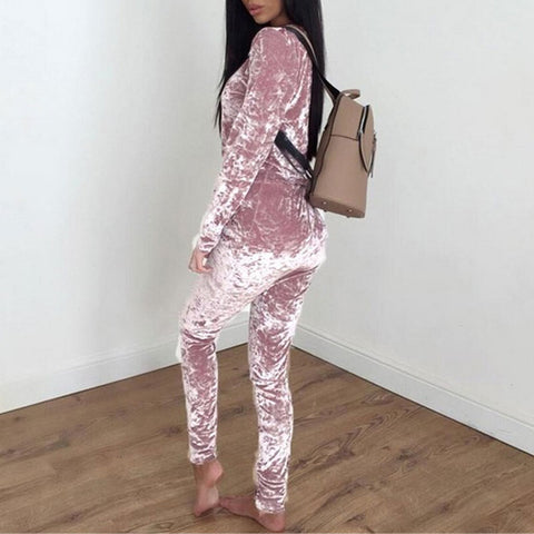 Autumn Velvet Tracksuits Women Set Winter Sweat Suits - buydressonline