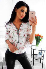Women  Casual V Neck Autumn Shirt Ladies Front Zipper Blouse