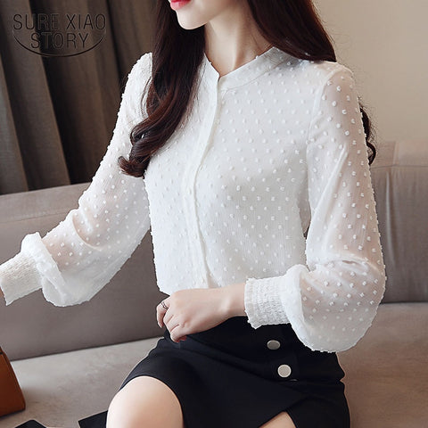 New arrived women shirt sweet female  collar wave point long-sleeved
