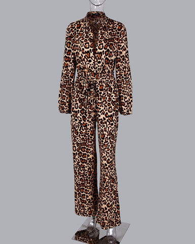 Leopard Tied Waist Long Sleeve Jumpsuit Women Rompers Fashion