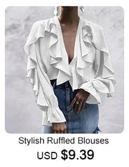 Casual Solid Long Sleeve Buttons Asymmetric Tops Ladies Baggy Blouses - buydressonline
