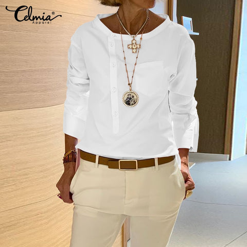 New 2020 women Fashion Shirt  and Long Sleeve Buttons Casual Blouses