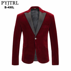Men's Autumn Winter Velvet Wine Red Fashion Leisure Suit Jacket - buydressonline