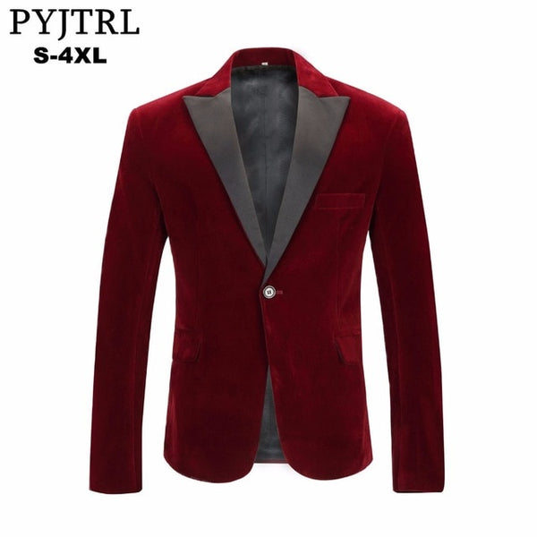 Men's Autumn Winter Velvet Wine Red Fashion Leisure Suit Jacket