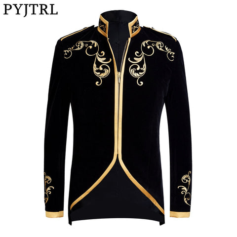 Black Velvet Gold Embroidery Blazer Wedding Groom Slim Fit Suit Jacket Singers Coat