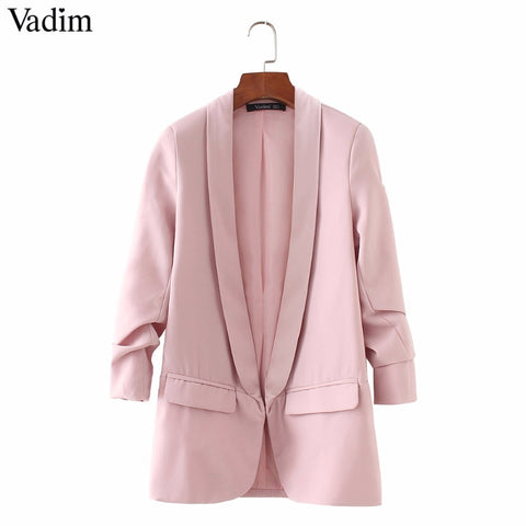 Women elegant 4  blazer crimping three quarter sleeve