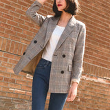 Bouble Breasted Plaid Women Blazer