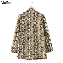 Vadim vintage snake print blazer pockets Notched collar long sleeve coat - buydressonline