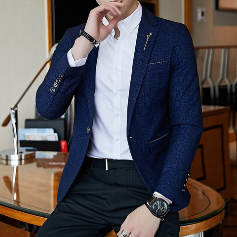Casual Mens Stylish Blazer Spring Autumn Dot  Striped Blazers Mens - buydressonline