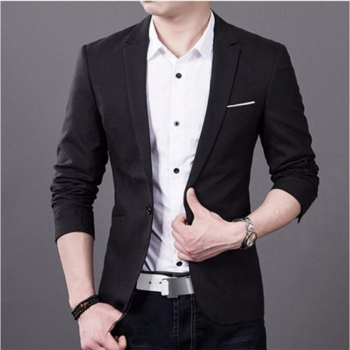 Mens Korean slim fit fashion cotton blazer Suit