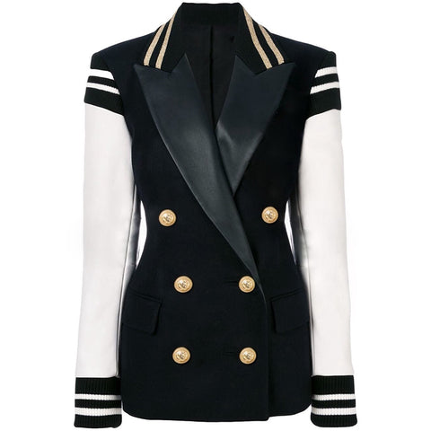 Women's Leather Patchwork Double Breasted Blazer Classic Varsity Jacket - buydressonline