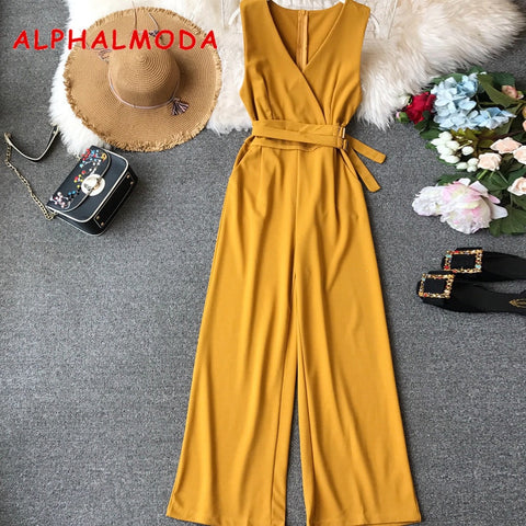 Ladies Sleeveless Solid Jumpsuits  and  Women Casual Wide Leg Rompers