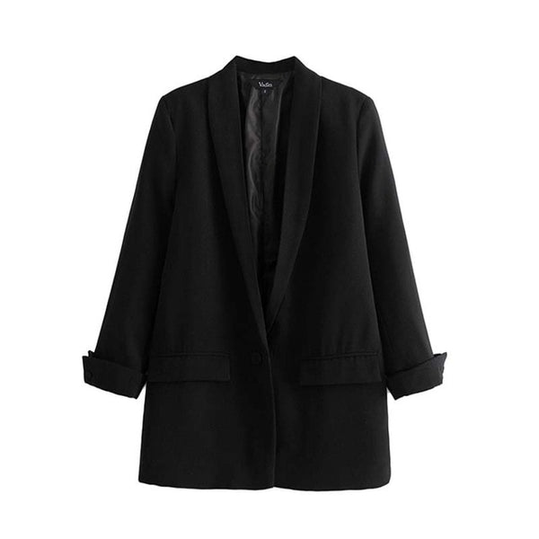 Women chic black red blazer
