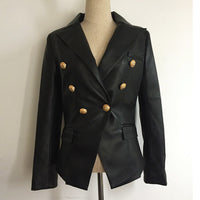 Double Breasted Synthetic Leather Blazer Overcoat