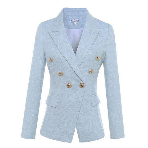 Women's Long Sleeve Double Breasted Metal Lion Buttons Blazer - buydressonline