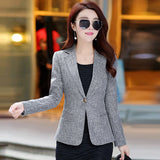 One Button Office Female Blazers Jackets