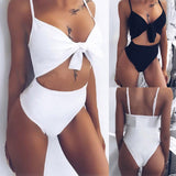 Women White Black Strap Tankini Bodysuit