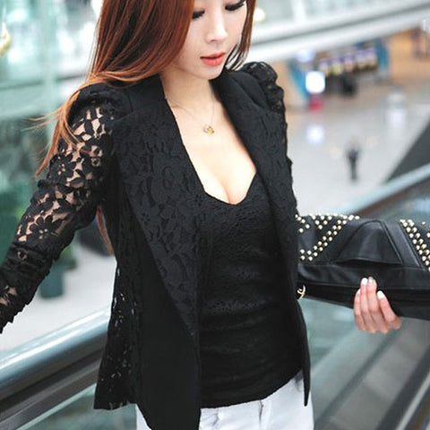 Elegant Plus Size Women Blazer Black White Long Sleeve - buydressonline