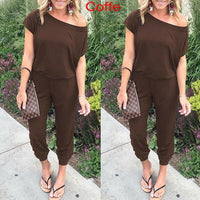 New Women Casual One-Shoulder Wide Leg Jumpsuit