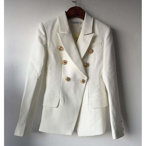 Blazer Jacket Women's Double Breasted Metal Lion Buttons Blazer