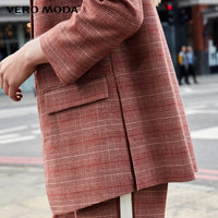 Sleeves Plaid Long Jacket Blazer