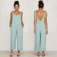 New Women Casual Loose Linen Cotton Jumpsuit