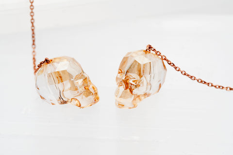 Swarovski Crystall Skull Earrings with Champagne Finish Skull