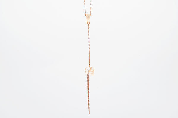 Rose Gold Swarosvki Crystal Skull Pendant Necklace (With Tassel)