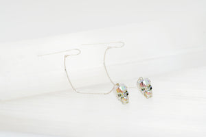 Swarovski Crystal Skull Earrings with Rainbow Finish Skull