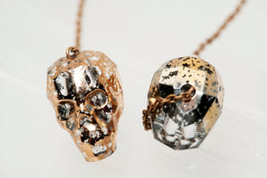 Swarovski Patina Crystal Skull Earrings With Rose Gold Patina Finish