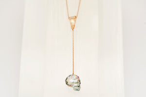 Rose Gold Swarovski Crystal Skull Pendant Necklace