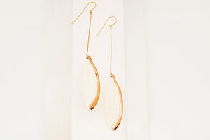 Rose Gold Single Bone Feather Earrings