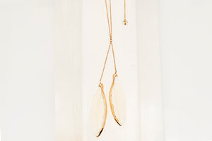 Rose Gold Double Bone Feather Pendant Necklace