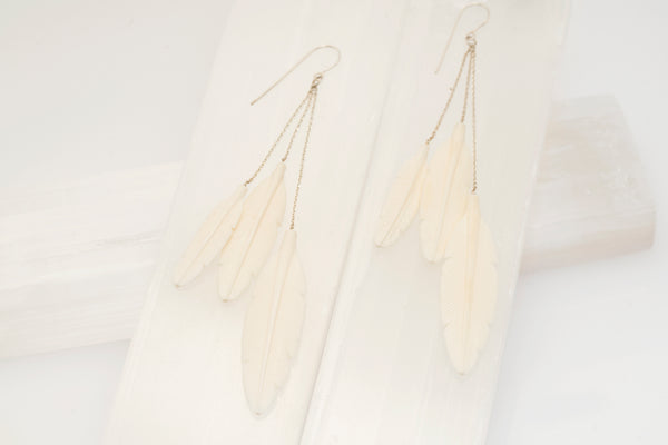 Bone Triple Feather Earrings