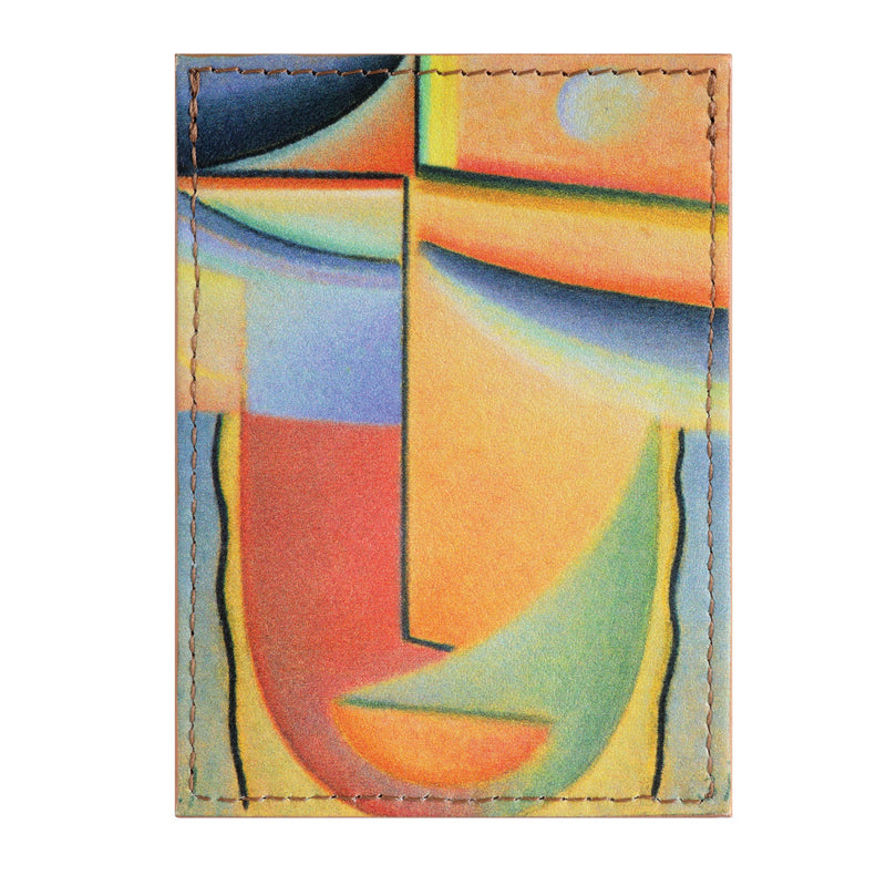 Leather credit card holder printed with Alexei Jawlensky abstract head artwork.